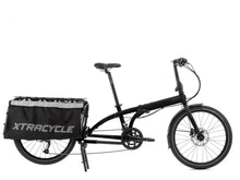 "Load image into Gallery viewer, ""Tern Cargo Node Gloss Black folding, cargo bike with 16 speed Shimano gears and hydraulic disc brakes, side view, Barnes Bikes"""