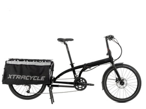 """Tern Cargo Node Gloss Black folding, cargo bike with 16 speed Shimano gears and hydraulic disc brakes, side view, Barnes Bikes"""