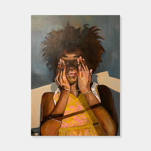 Artsuite - Beverly McIver - Eloise Closing Her Eyes - Original Painting. McIver's autobiographical paintings are richly colorful and chronicle her life struggle with her African-American identity. Her voice in these works is brave and bold and the different interpretations by white and black viewers highlights the collision of the worlds that she straddles daily.