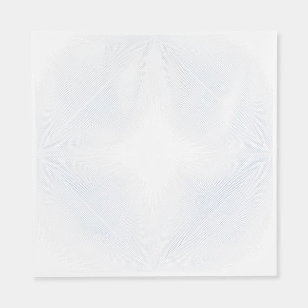 Artsuite - Original artwork by Leigh Suggs is hand cut out of white acrylic and makes an intricate diamond pattern within a square.