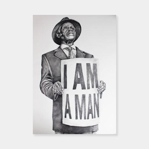 Artsuite - I AM A MAN - Brandon Dudley - Original Painting - 18 x 24 inches.  Through his portraits, Dudley strives to construct empowering representations of black culture and black history.  His art becomes a source of education, as he shows appreciation for a culture that is negatively perceived.