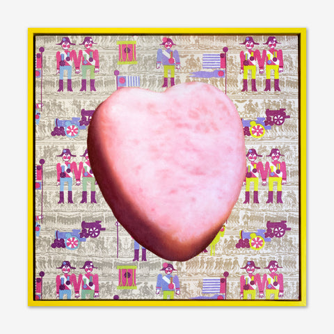 Artsuite - Jack Early - Magical Surprises Pink Heart - Lucky charms pink heart painted on top of Jack's childhood wallpaper that he changed so the boy toy soldiers were holding hands.  Yellow painted wood frame.