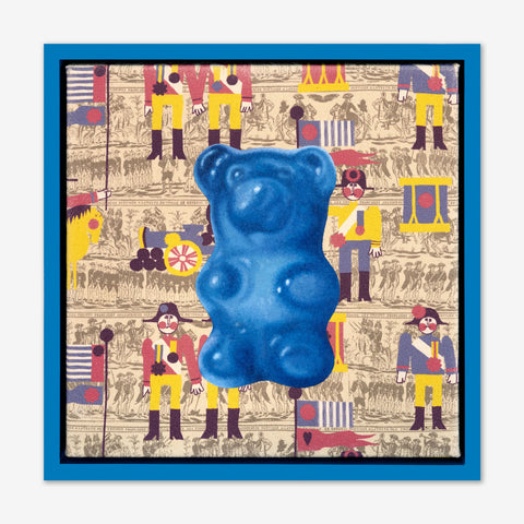 Artsuite - Jack Early Gummy Bear - Blue - Original Painting - 13 x 13 inches. Early's lexicon is drawn from wondrous childhood memories, where ordinary things and events can leave long-lasting impressions and he composes experiences to communicate sweet remembrances of simpler times.