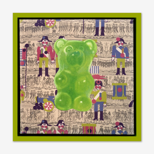 Artsuite - Jack Early Gummy Bear - Green - Original Painting - 13 x 13 inches. Early's lexicon is drawn from wondrous childhood memories, where ordinary things and events can leave long-lasting impressions and he composes experiences to communicate sweet remembrances of simpler times.