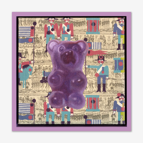 Artsuite - Jack Early Gummy Bear - Purple - Original Painting - 13 x 13 inches. Early's lexicon is drawn from wondrous childhood memories, where ordinary things and events can leave long-lasting impressions and he composes experiences to communicate sweet remembrances of simpler times.