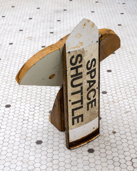 Artsuite - Jeff Bell - Space Shuttle - Original sculpture out of wood and steel. Bell's found object-based sculptural work expresses the relationship between materials and memory. Delving into that relationship, he has found a connection between coming of age, nostalgia, and death that is rooted in several personal memories around pop culture.