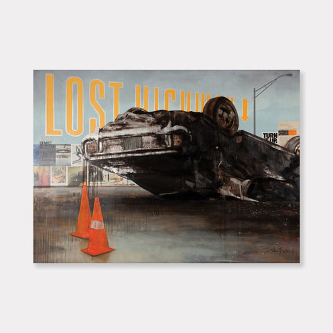 Artsuite - Lost Highway - Original artwork by Shaun Richards.  Oil and mixed media on canvas.  96×120 inches.  Richards' work has broadly focused on political incentives, socio-economic issues, notions of beauty, and societal norms for the better part of a decade.  He has described it as a focus on our complicity and responsibility for the world in which we live—particularly those institutions, and paradigms that define contemporary western society.