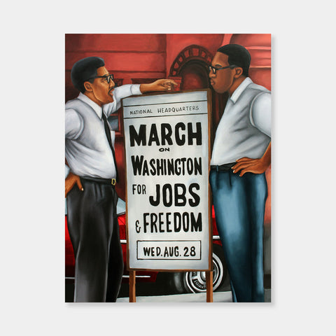 Artsuite - Brandon Dudley - March on Washington - Original Painting - 24 x 30 inches.  Through his portraits, Dudley strives to construct empowering representations of black culture and black history.  His art becomes a source of education, as he shows appreciation for a culture that is negatively perceived.