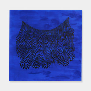 Artsuite - An original painting by Leigh Suggs made out of bright blue acrylic and ink on handmade paper creating an intricate lace pattern.