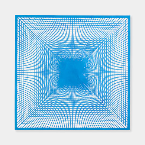 Artsuite - An original painting by Leigh Suggs. The artwork is hand cut out of light blue acrylic on yupo to form a symmetrical square intricate web.