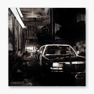 Artsuite - Shaun Richards - Police Car. Original artwork by Shaun Richards. Oil on panel. 16 x 16 inches. Richards' work broadly focuses on political incentives, socio-economic issues, notions of beauty, and societal norms. He combines collage/mixed media contrasted with abstraction to present these issues in a layered yet ambivalent way.