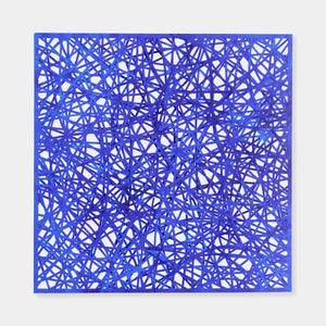 Artsuite - Original artwork by Leigh Suggs is ultramarine blue and hand cut out of acrylic on Yupo creating a criss cross of intricate lines