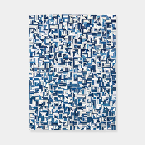 Artsuite - Original artwork by Leigh Suggs is made out of blue and white collaged cyanotype which forms intricate square spiral designs.