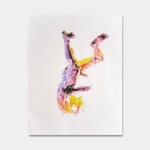 Artsuite - Temper is an original artwork by Tim Lytveninko showing himself static in the middle of a free fall .  Mixed media - pinks, yellow , purple pigment prints and acrylic paint on canvas.