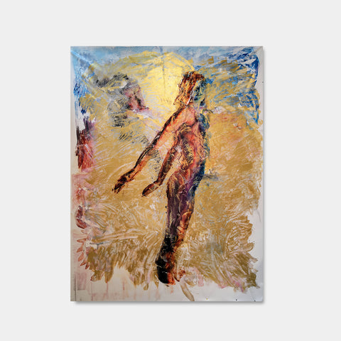 Artsuite - Memory 3 - Original artwork by Tim Lytvinenko. Mixed media made with pigment prints, acrylic paint, and gel on canvas.  Gold, blue, red, yellow abstract depiction of a nude man.  110 x 80 inches.