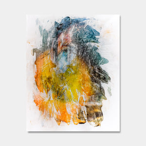 Artsuite - Memory 4 - Original artwork by Tim Lytvinenko.  Abstract of a human face with orange, teal, yellow, and gold pigment prints, acrylic paint, and gel on canvas.  55 x 45 inches.