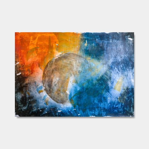 Artsuite - Moons Equilibrium 1 - Original artwork by Tim Lytvinenko.  Mixed Media - Gold, red, blue metallic photo paper, paint, gel, on canvas.  Size is 55 × 45 inches.