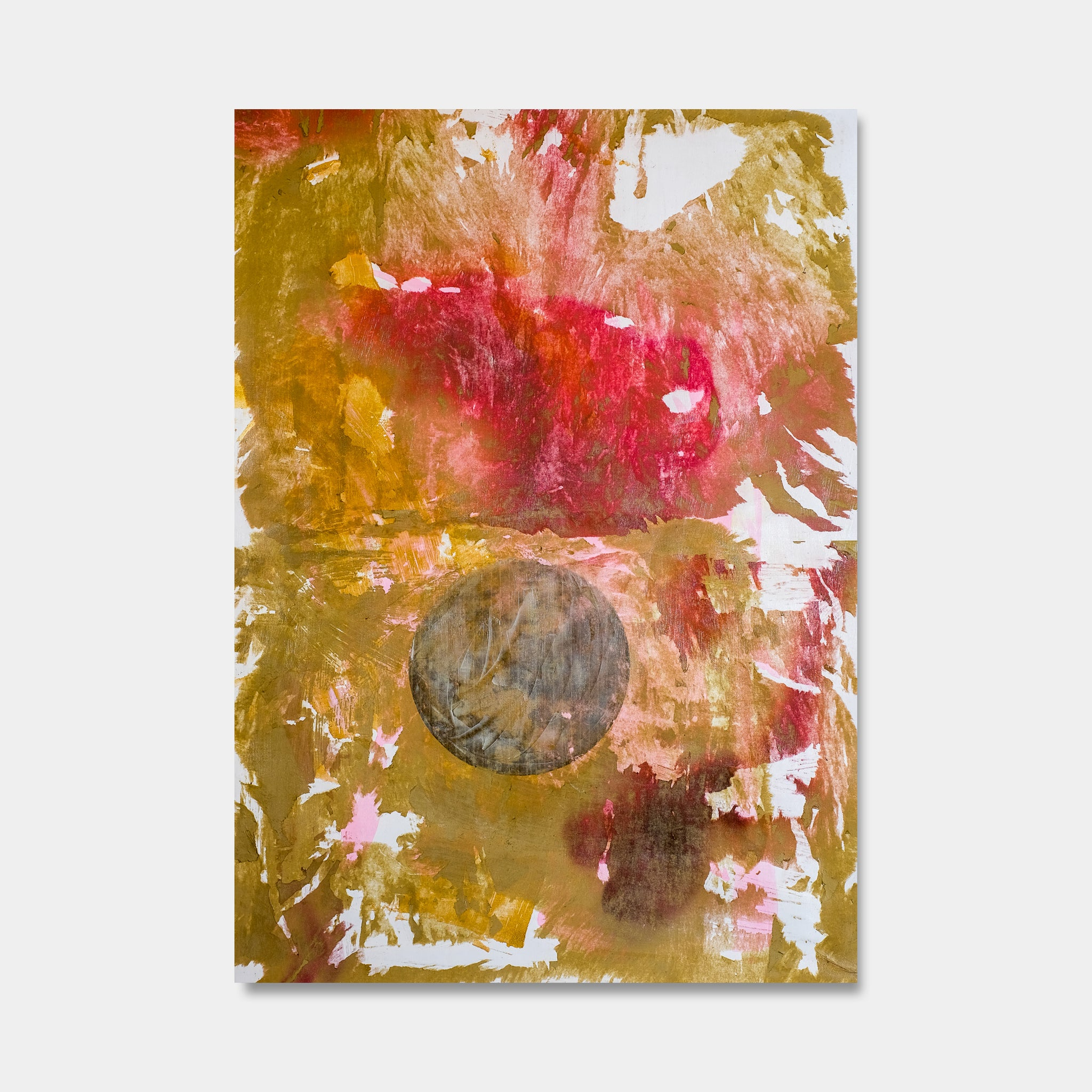 Artsuite - Moons Equilibrium 2 - Original artwork by Tim Lytvinenko.  Abstract mixed media of the moon in gold, red, and white metallic photo paper, paint, and gel on canvas.  55 x 45  inches.