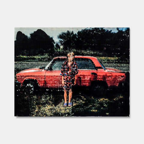 Artsuite - Red Car - Original artwork by Tim Lytvinenko of a boy standing in front of a red car.  Photograph - photo transfer on archival paper.   22 x 17 inches.