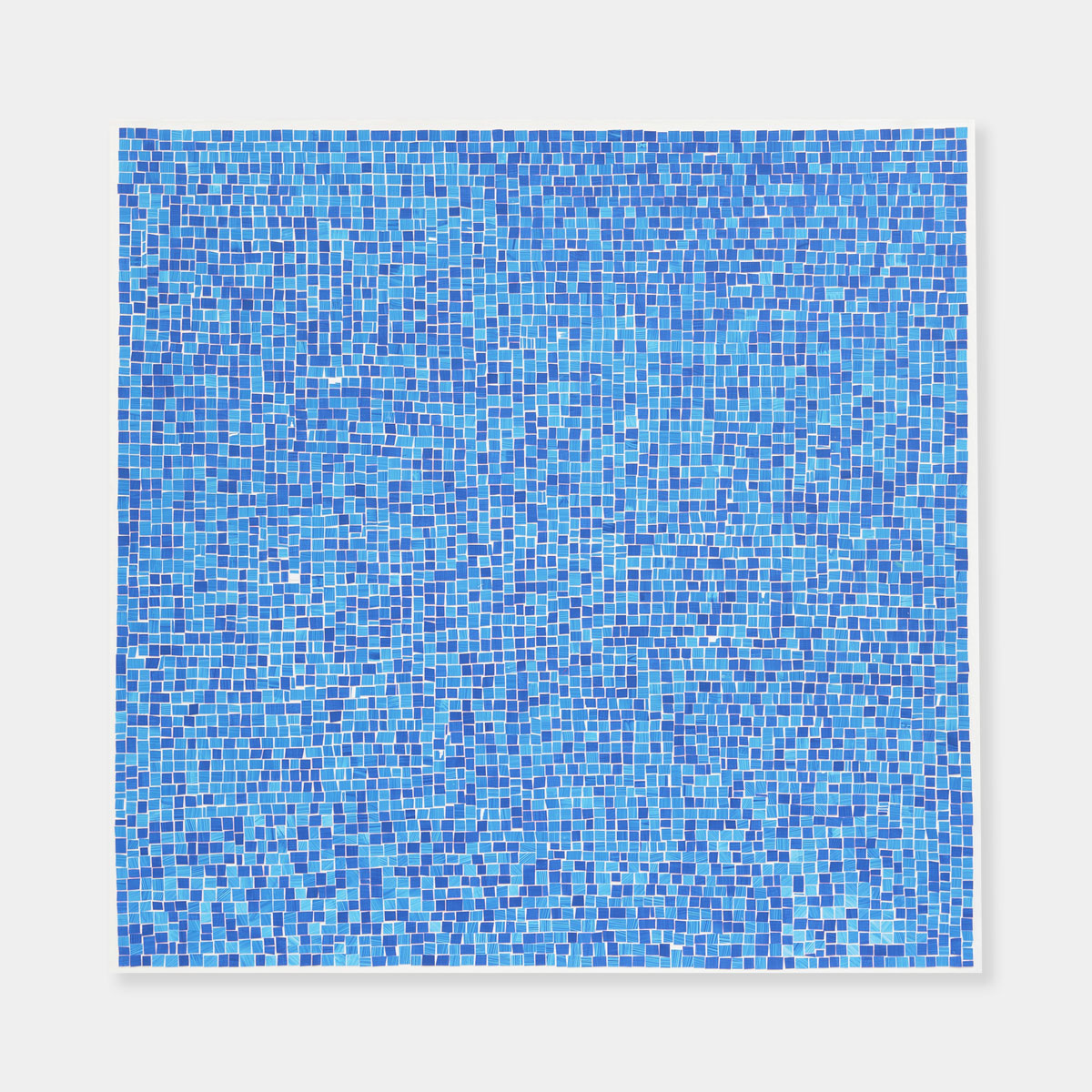 Artsuite - An original painting by Leigh Suggs. It is light blue and dark blue squares hand cut of of acrylic on yupo.