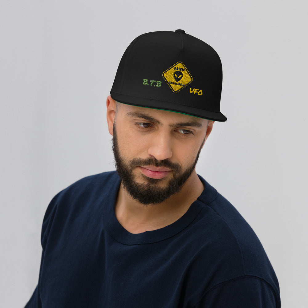 "B.T.B ""Alien On Board"" Flat Bill Cap"