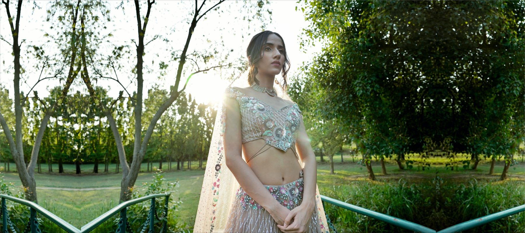 Designer and Contemporary Lehenga Choli in Champagne Gold colour with intricate sequin embroidery for the contemporary and modern Indian designer look. Apt for reception, Mehendi lehengas its from Punjab and Chandigarh's most famous & popular bridal store