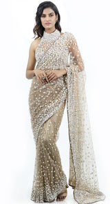 OFF WHITE HALTER DESIGNER SAREE