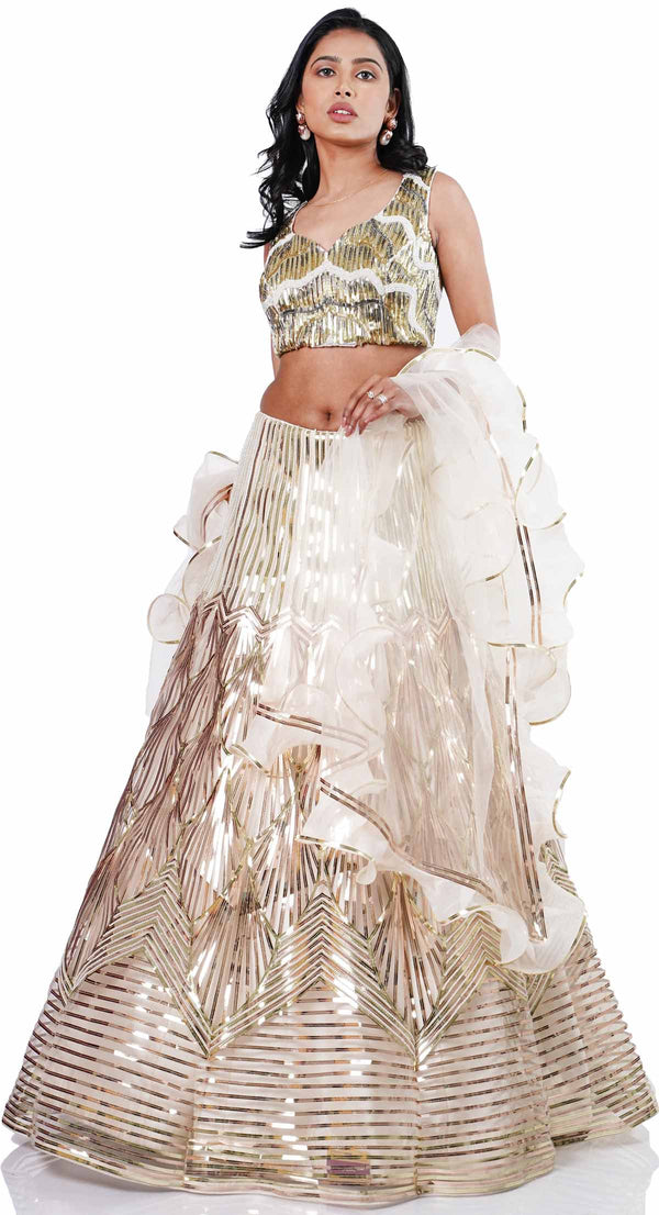 LEATHER STRAP RUFFLE LEHENGA