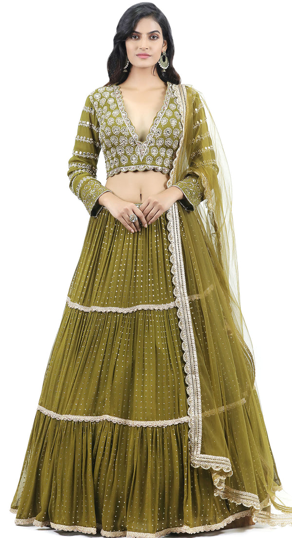 indian party wear lehenga by poshak chandigarh