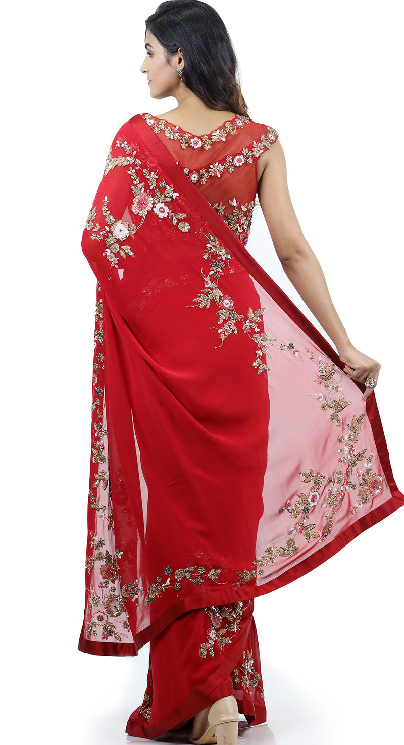 RED SEQUIN GEORGETTE SAREE