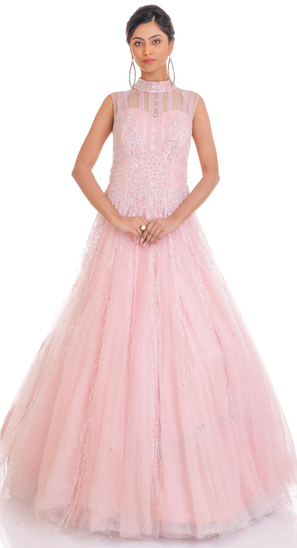 PINK HIGH NECK GOWN