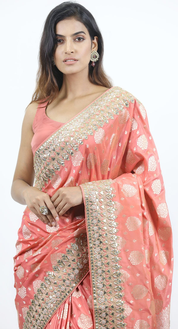 PEACH BANARSI SAREE
