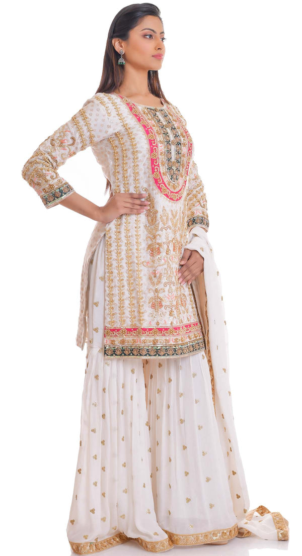 IVORY HAND EMBROIDERED SHARARA SUIT