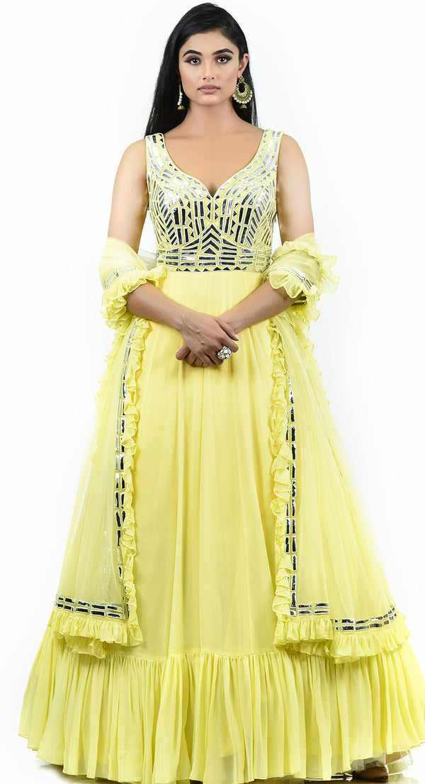YELLOW LEATHER WORK ANARKALI SUIT