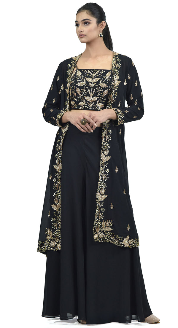 BLACK EMBROIDERED JACKET SHARARA