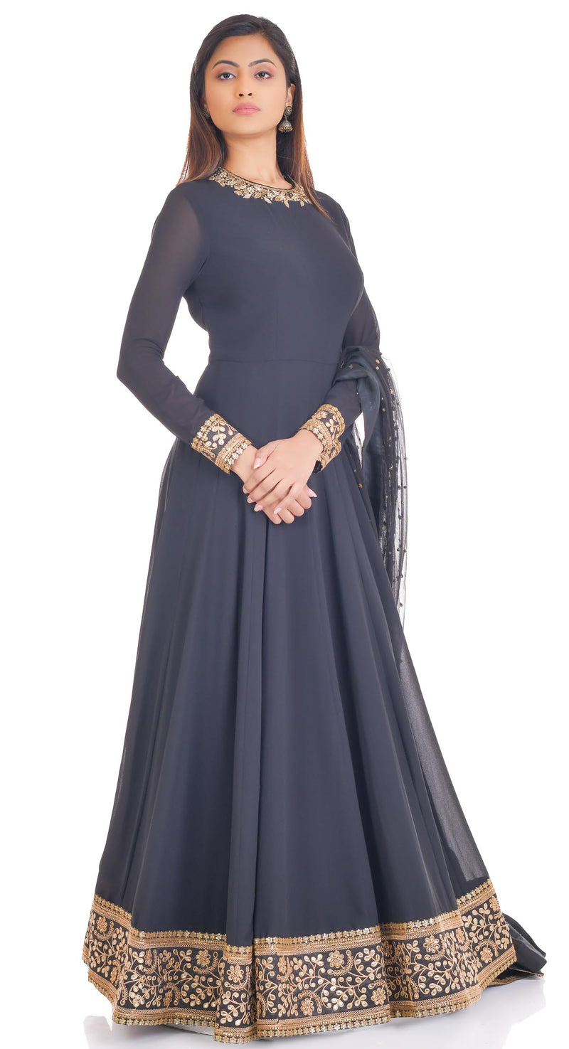 black anarkali suits party wear poshak chandigarh