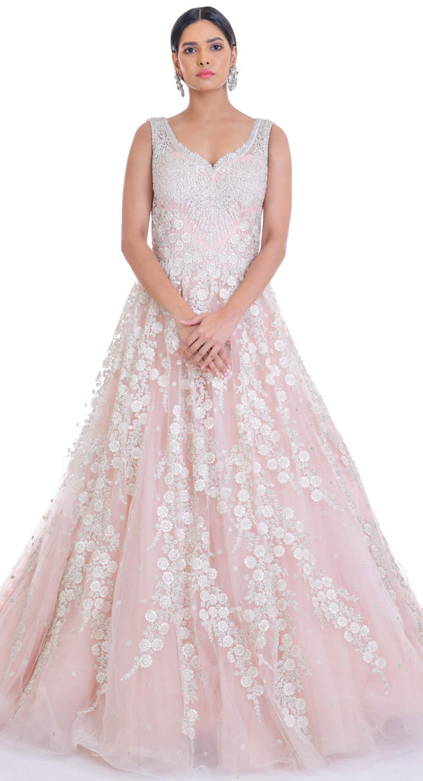 PINK HAND EMBROIDERED GOWN WITH SILVER WORK