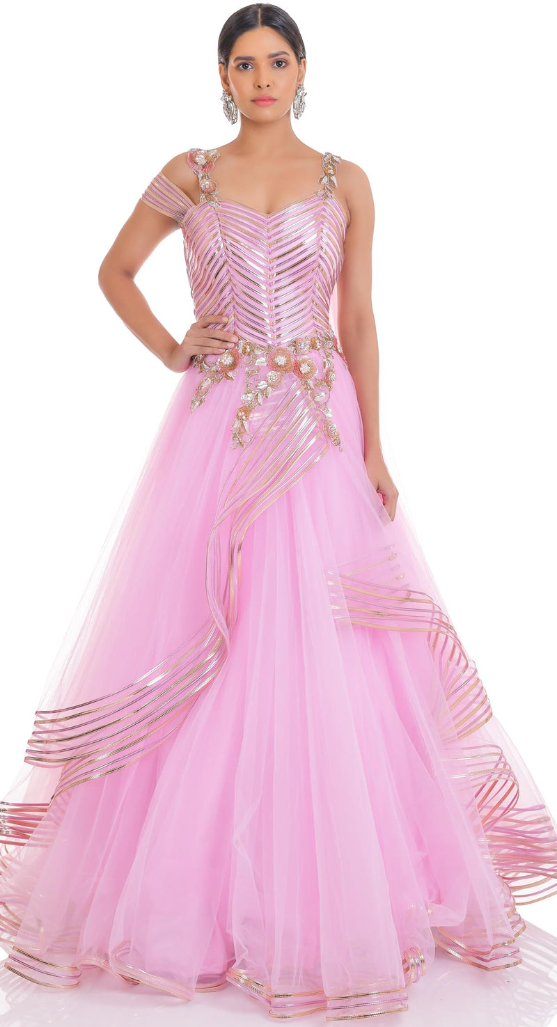 PINK LEATHER GOWN