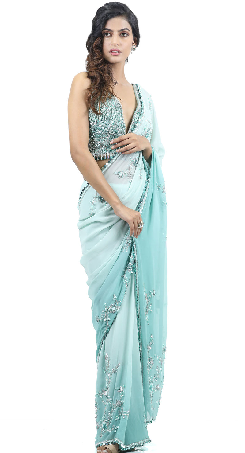OMBRE GREEN SAREE