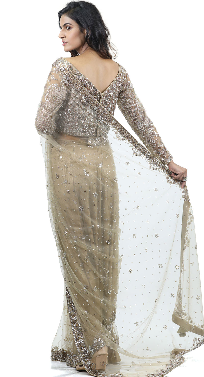 PISTA SEQUENCE NET SAREE