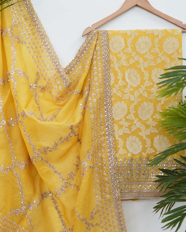 YELLOW BANARASI GEORGETTE SHIRT WITH HEAVY ZARI DUPATTA