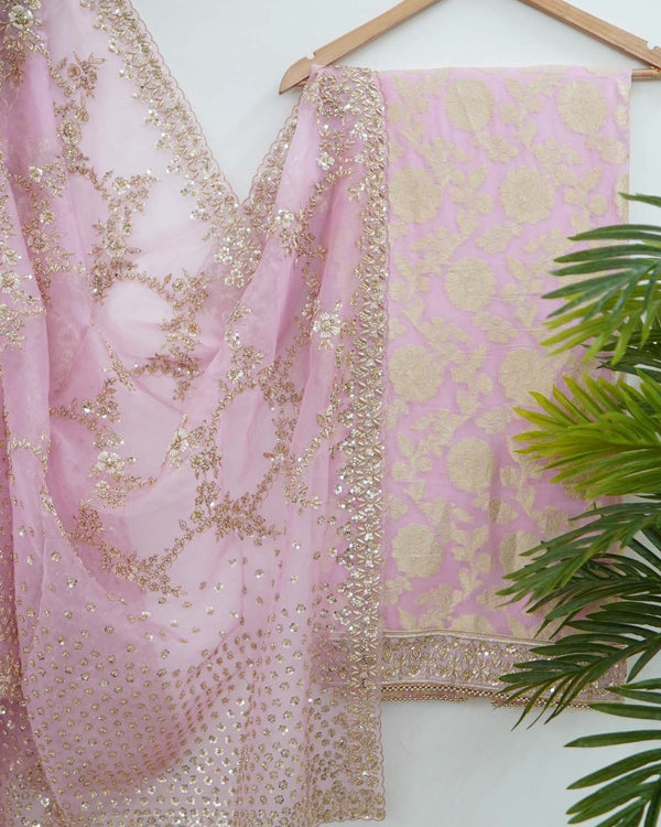 PINK BANARASI GEORGETTE SHIRT WITH HEAVY ZARI DUPATTA