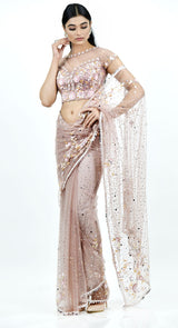 DUSKY PINK SEQUIN SAREE