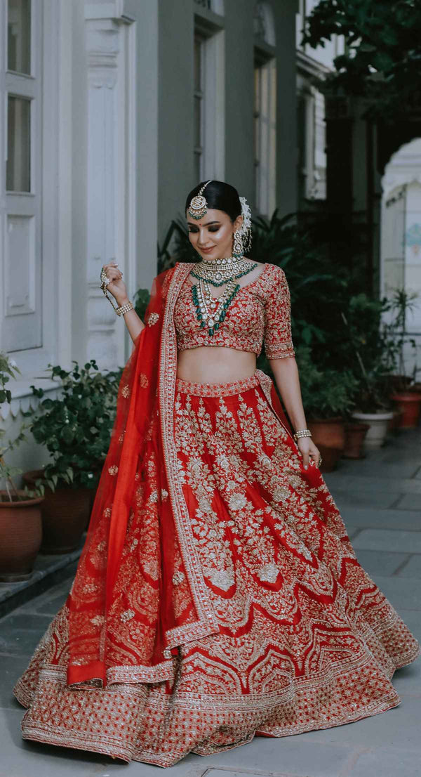 new design bridal lehenga by poshak