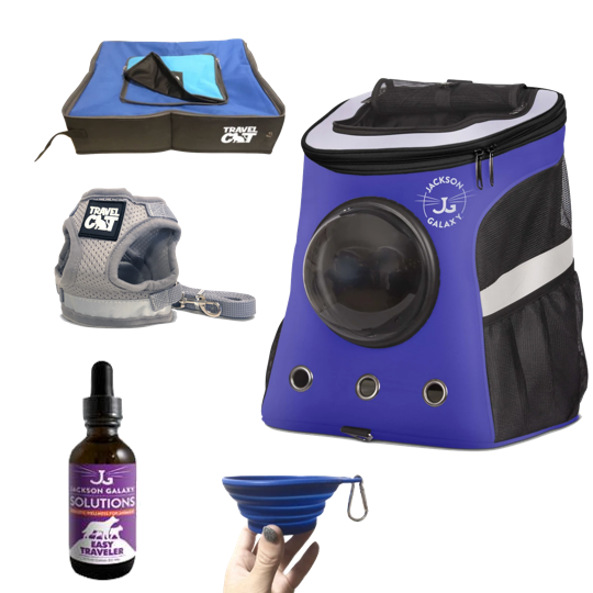 """The Complete Jackson Galaxy Cat Backpack"" Bundle: Backpack, Harness, Leash, Travel Litter Box, Easy Traveler Solution, Travel Bowl"