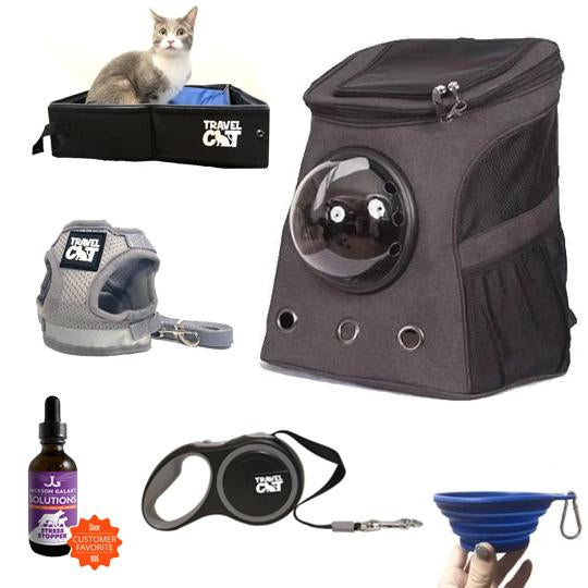 """The Whole Kitten Kaboodle"" Bundle: Fat Cat Backpack, Harness, Leash, Retractable Leash, Travel Litter Box, Easy Traveler Solution, Travel Bowl"