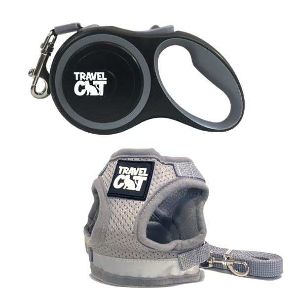 """The Wind in My Whiskers"" Bundle: Harness, Leash, and Retractable Leash"