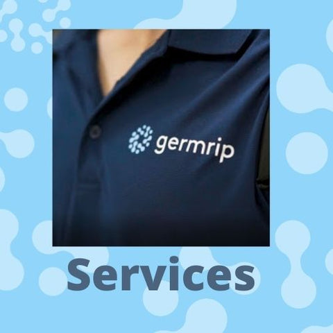 Commercial Cleaning Shirt that says germrip across the chest