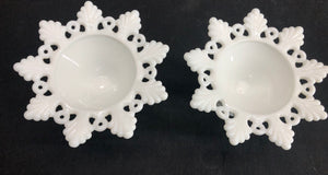 Matching Set Milk Glass Candle Holders