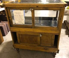 Load image into Gallery viewer, Small Antique Oak Showcase